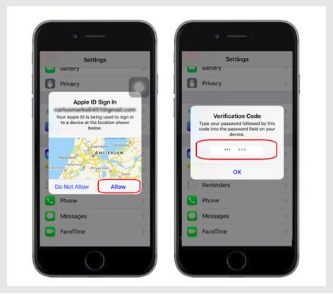 iphone casus yazılım yükleme verification code